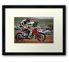 Danger on a dirt track - Motocross Sidecar Team Framed Print