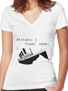 Titanic in CSS computer code Women's Fitted V-Neck T-Shirt