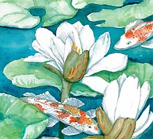 Koi & Water Lilies by clotheslineart