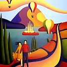 Couple with balloons in softscape by lake by Alan Kenny