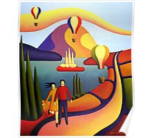 Couple with balloons in softscape by lake Poster