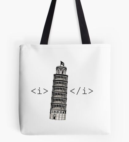 The Leaning Tower of Pisa Italic HTML Tote Bag
