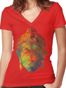 Buddha on pipal leaf Women's Fitted V-Neck T-Shirt
