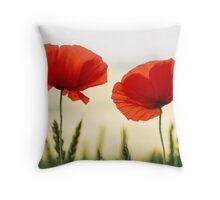 English Field Poppies Throw Pillow