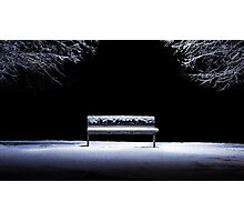 Bench and snow Photographic Print