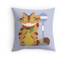 Lucky catbus Throw Pillow