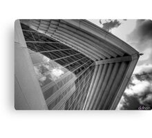 Self Reflections - Reflections of the sky on the Opera House glass - Black & White Canvas Print