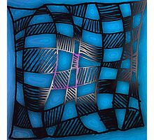 Twisted Checkers in Blue Photographic Print