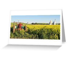 Tractor and canola Greeting Card