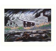 Derelict cottages, Rhosydd Slate Quarry, North Wales. Art Print