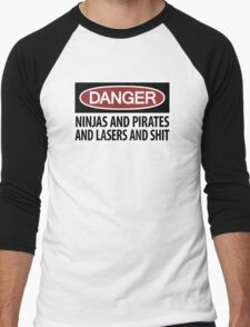 Ninjas and Pirates and Lasers, Oh My! Men's Baseball ¾ T-Shirt