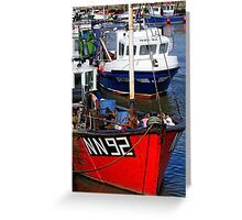 Fishing boats, West Bay Harbour, Dorset, UK Greeting Card