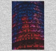 Bright Blue, Red and Pink Illumination - Agbar Tower, Barcelona, Catalonia, Spain Kids Clothes