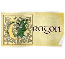 D is for Dragon Manuscript Page Gold Poster