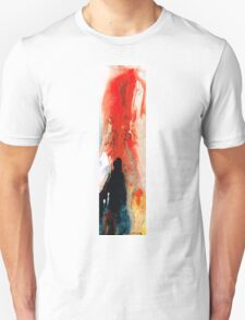 Solitary Man - Red And Black Abstract Art T-Shirt