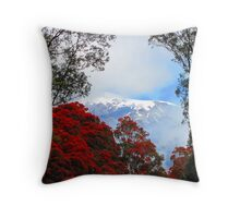 Red Blossoms and glaciers Throw Pillow