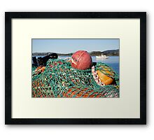 fishing net and floats Framed Print