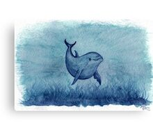 Inshore Dolphin Watercolor Canvas Print