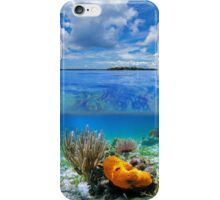 Cloudy blue sky with marine life underwater iPhone Case/Skin