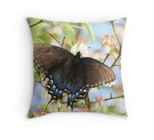 Black Butterfly on a Blueberry Bush Throw Pillow