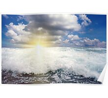 Breaking wave with sun at the horizon Poster