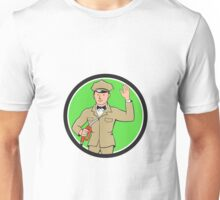 Gas Jockey Attendant Waving Circle Cartoon Unisex T-Shirt