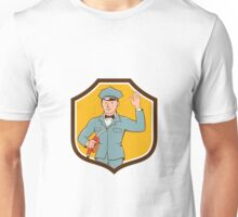 Gas Jockey Attendant Waving Shield Cartoon Unisex T-Shirt