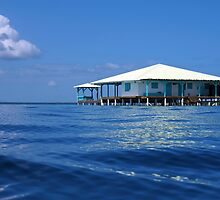 Caribbean house on stilts over the sea by Dam - www.seaphotoart.com
