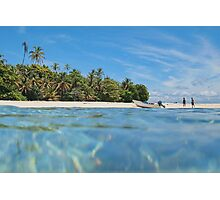 Caribbean island with boat on the beach Photographic Print