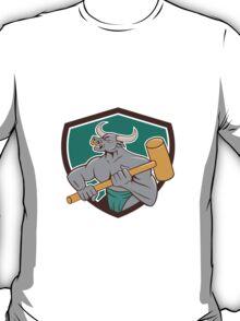 Minotaur Wielding Sledgehammer Shield Cartoon T-Shirt