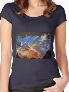 Northern night sky Women's Fitted Scoop T-Shirt