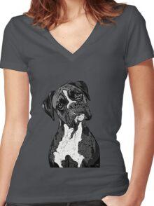 Black and White Boxer Art Women's Fitted V-Neck T-Shirt