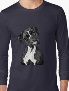 Black and White Boxer Art Long Sleeve T-Shirt