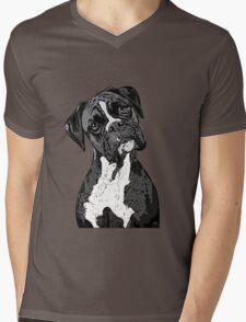 Black and White Boxer Art Mens V-Neck T-Shirt