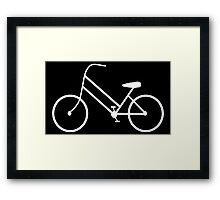 Women's Bicycle in White Framed Print