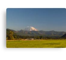 Mount Rainier with Rural Farm Canvas Print