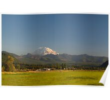 Mount Rainier with Rural Farm Poster