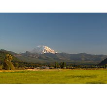 Mount Rainier with Rural Farm Photographic Print