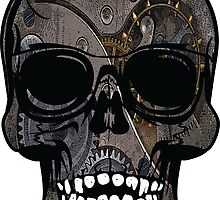 Grey Grinning Steampunk Skull by anarchasm