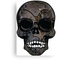 Grey Grinning Steampunk Skull Canvas Print
