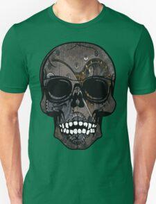 Grey Grinning Steampunk Skull Unisex T-Shirt