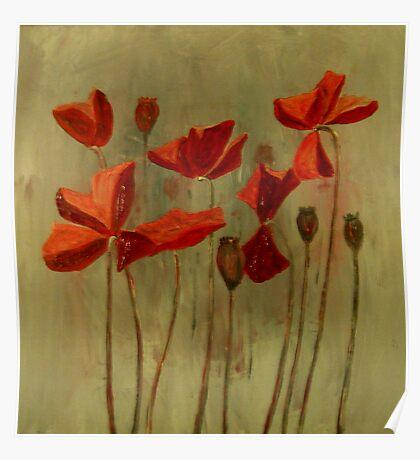 Red Poppy Field Poster