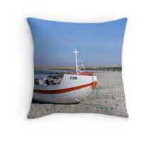 Costal fishing boat Throw Pillow