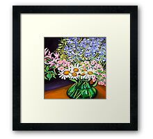 Daisies & Delphiniums Framed Print