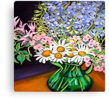 Daisies & Delphiniums Canvas Print