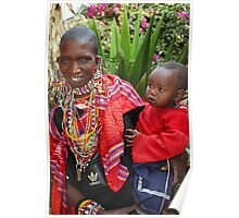 Maasai (or Masai) Mother & Child, East Africa Poster