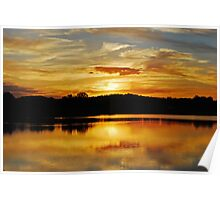 Sunset reflections, Lake Albert Poster