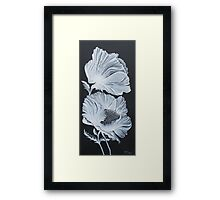 White Poppies on Black Framed Print
