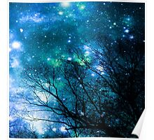 Black Trees Blue Space Poster