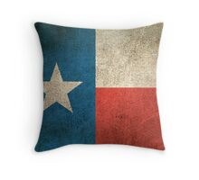 Old and Worn Distressed Vintage Flag of Texas Throw Pillow